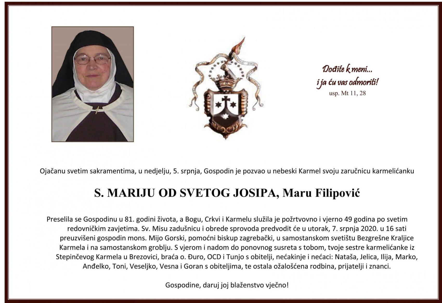 OPROŠTAJ OD S. MARIJE OD SVETOG JOSIPA (FILIPOVIĆ)